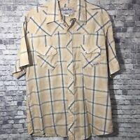 Wrangler Wrancher Short Sleeve Pearl Snap Shirt Large Western Rockabilly