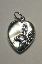 .925 Sterling puffy puffed large BUNNY RABBIT HEART Easter charm Vtg Reprodu
