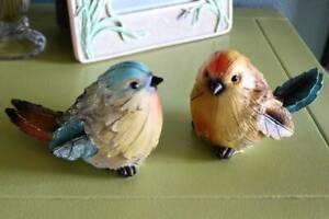 Bird Figurines Set of 2 Blue Yellow 5 inch Indoor Outdoor Garden Decor