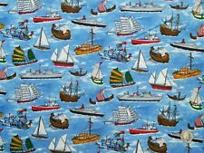 South Sea Imports, I Spy Kids Stuff, Ship Fabric, 100% Cotton Fabric, 2 Metres
