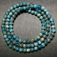 5.5mm Natural Gem quality Light Blue Apatite Crystal Round Beads Bracelet