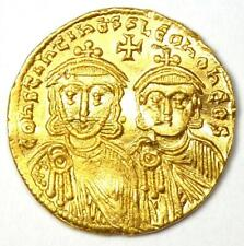 Constantine V with Leo IV AV Solidus Gold Coin 740-775 AD - XF / AU Details