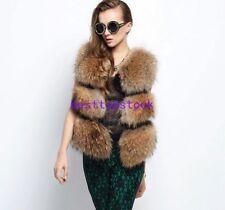 Women Winter Short Raccoon Fur Vest Gilet Coat Jacket Warm Thicken Outwear Parka