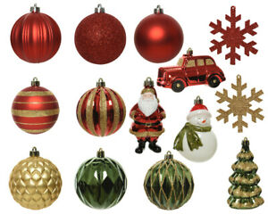Pack of 25 Red Gold Green Shatterproof Mixed Christmas Baubles Set Traditional