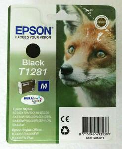 EPSON T1281 'Fox' BLACK INK CARTRIDGE C13T12814011 for Epson Stylus  Genuine OEM