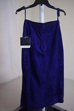 Dana Brooke 100% Silky Pig Suede Purple Mid-Calf Lined A-Line Skirt - 6
