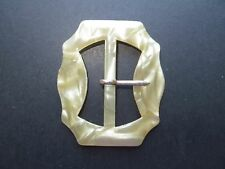 Early 1900s Antique Celluloid Moonglow Light Yellow Ladies Buckle