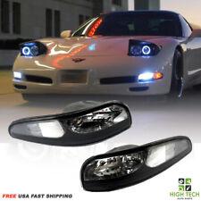 For 1997 2004 Chevy Corvette C5 Front Bumper Lights Black Housing Clear Lens