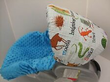 Zoo animals & owl with teal turquoise minky infant slip cover/Graco&custom size