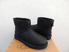 UGG BLACK CLASSIC MINI WOVEN LEATHER/ SHEEPSKIN BOOTS, WOMENS US 7/ EUR 38 ~NEW
