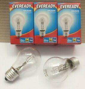 Pack of 6 x 46w = 60w Watt ES E27 Screw Lamps Eveready GLS Halogen Light Bulbs