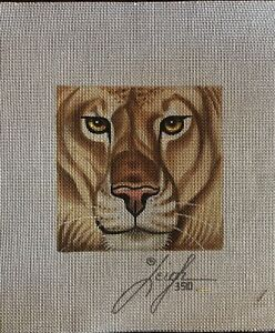 Leigh Lion 5.5 In X 5.5 In 18 Mesh HP Needlepoint Canvas