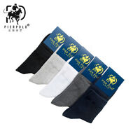 5 Pairs Men's Business Pier Polo Solid Quarter Combed Cotton Dress Socks Casual
