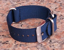 22mm Navy Blue Luminox 3 SOLID Stainless Steel Rings, Buckle Nylon Watch Strap