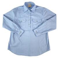 RM Williams Womens Long Sleeve Blue 1/2 Button Long Sleeve Twill Shirt Size 14