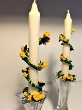 "Candle Rings set (2) Mother's Day Yellow Roses 6"" Candles Included Made in USA"