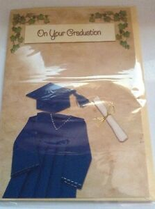 Graduation Greeting Card NIP Cap and gown Unused+env