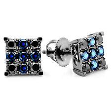 1 00 Ct 10k White Gold Round Blue Shire Black Diamond Men S Stud Earrings