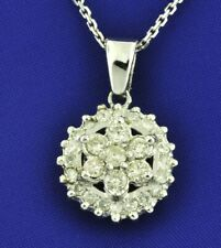 14k Solid White Gold Natural diamond cluster pendant 1.12 ct