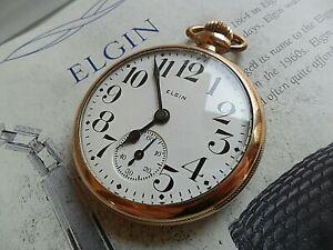Antique 1926 Elgin B W Raymond Railroad Grade 21 Jewel 5 Adj. Pocket Watch Runs