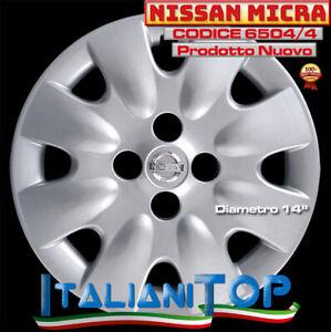 """NISSAN MICRA - QUATTRO (4) COPRICERCHI BORCHIE - DIAMETRO 14"""" 6504/4 dal 2003"""