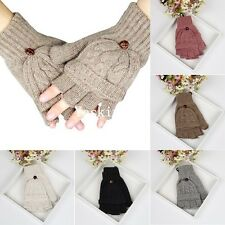 Unisex Womens Mens Knitted Fingerless Gloves Wool Winter Warm Mittens