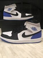 Nike Air Jordan Retro 1 Mid Union Royal Black Toe Mens Size 10.5 852542-102 New
