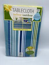 Indoor Outdoor Tablecloth 70 inch Round Capri Stripe Water Repellent New