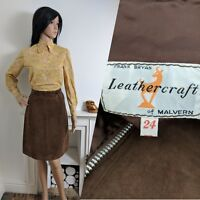 Vintage 60s 70s Leathercraft Suede Brown Skirt Mod Beatnik 8 10 36 38