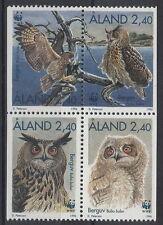 ALAND 1996 Serie WWF Protezine Natura Gufo Reale 4 Val Unificato 109-12 MNH**