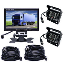 Wired IR Reverse Backup Camera With 7inch TFT-LCD Monitor Kit 2x 33Ft 4pin cable
