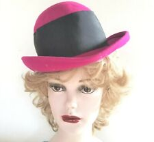 Bollman Bowler Style Hat Magenta with Black Grosgrain Ribbon and Bow 100% Wool