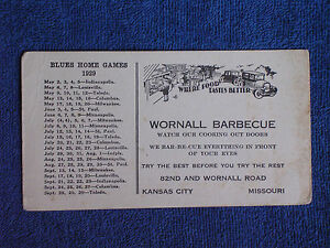 1929 Kansas City Blues American Association Baseball Schedule/Wornall Barbecue