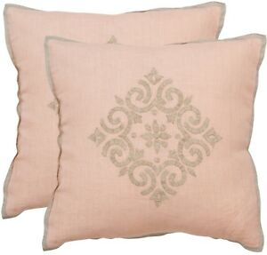 SET OF 2 Safavieh Isola Petal 20-inch Square Throw Pillow Covers, PINK/PETAL