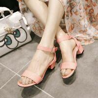 Womens Block Low Heel Buckle Sandals Open Toe Summer Casual Lady Work Party Shoe