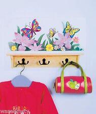 Colorful Butterfly Floral Flower Shelf Look Wall Decal Sticker Hook Hanger Decor