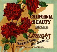 Riverside California Beauty Red Roses Orange Citrus Fruit Crate Label Art Print