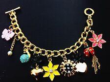 B215 BETSEY JOHNSON Ladybug Beatles Snail Shell Flower Butterfly Bracelet US