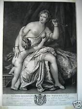 Venere Cupido Veronese Vitali Veronese Vicenza acquaforte originale Venus Love