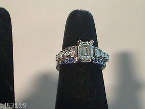 Custom Designed--Platinum  Semi mount with Blue Sapphires Ring