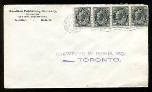 HAMILTON 1903 Publishing Co Cover to Toronto. Strip of 4 x QV ½c Leaf   (p02049)