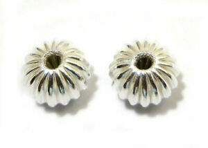 120 PCS 10X7MM CORRUGATED RONDELLE BEAD STERLING SILVER PLATED 729 WH-100