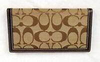 Women's COACH Signature Monogram Canvas Leather Brown Checkbook Pen BiFold