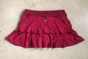 Lululemon Run: Pace Setter Skirt Bumble Berry Striped Waist Sz 4