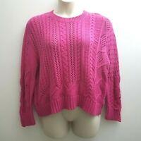 Splendid Womens Fuschia Pink Cotton Blend Oversize Sweater Sz Large Pullover NWT