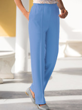 NWT BLAIR Plus 36W Blue Stitched Crease Poly Knit Pants w/ Pockets Style #B12163