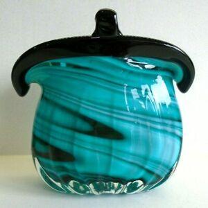 "Murano Style Art Glass Purse Handbag Vase Aqua Turquoise black white swirl 6"""