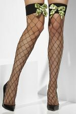 Fever Diamond Net Hold-Up Stockings with Camo Bows UK 6 - 14