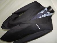 Canali men's Black with Blue stripe 2 button dual vents jacket coat 46 R