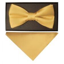 Tiesrus Plain Burgundy Hand Made Mens Bow Tie and Handkerchief Set Caramel